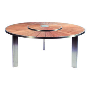 round table stainless steel teak lazy susan outdoor