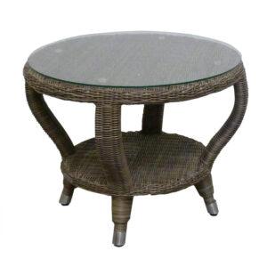 wicker glass side table dark gray