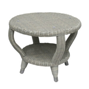gray wicker round side table