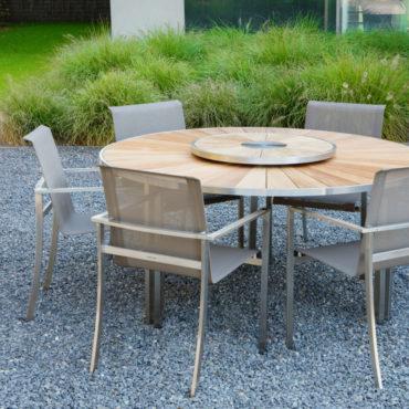 granada teak steel lazy susan outdoor dining table