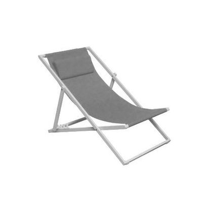 Isaura Gray Folding Lounge Chair Sun Lounger