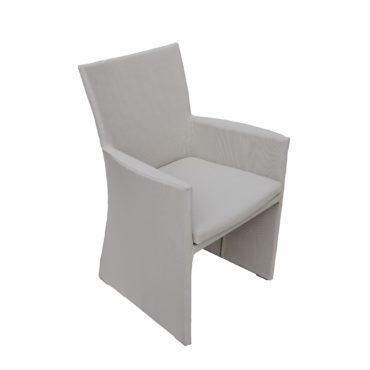 light gray textilene outdoor dining chair