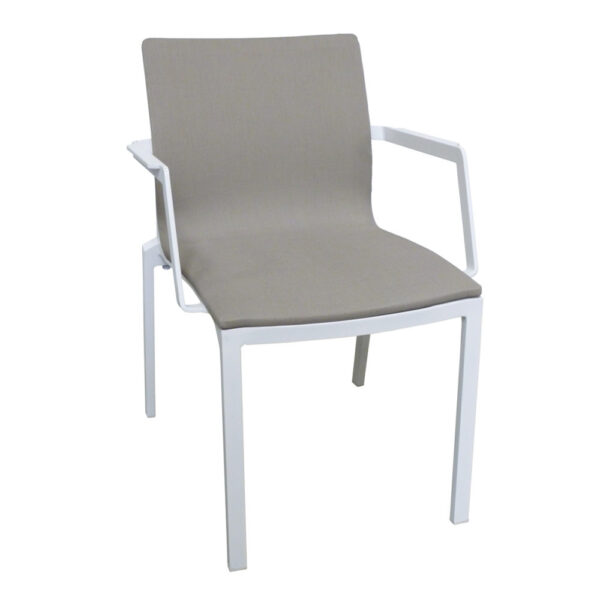 gray dining chair with powder coated frame