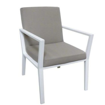 gray white aluminum armchair outdoor
