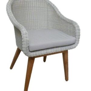 white wicker armchair teak legs