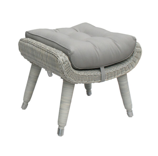silver gray wicker outdoor footstool