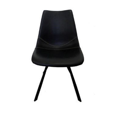 baseball black faux leather dining chair front