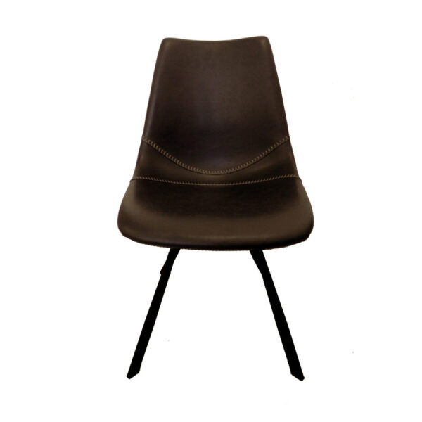 baseball brown faux leather dining chair front