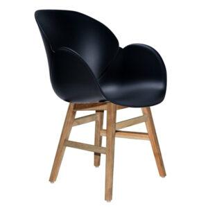 black pvc teak armchair