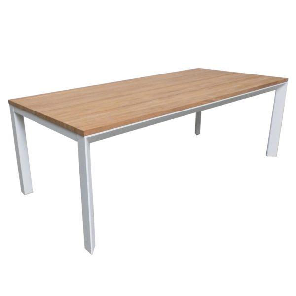 carlo iroko wood aluminum outdoor dining table