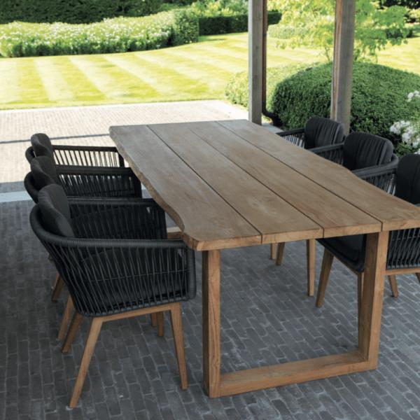 eden jako black outdoor chair wood u base table