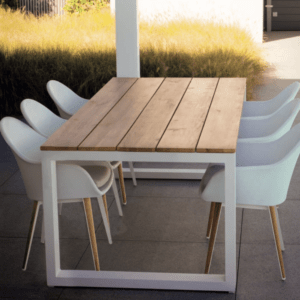 elo ugo white outdoor dining table teak