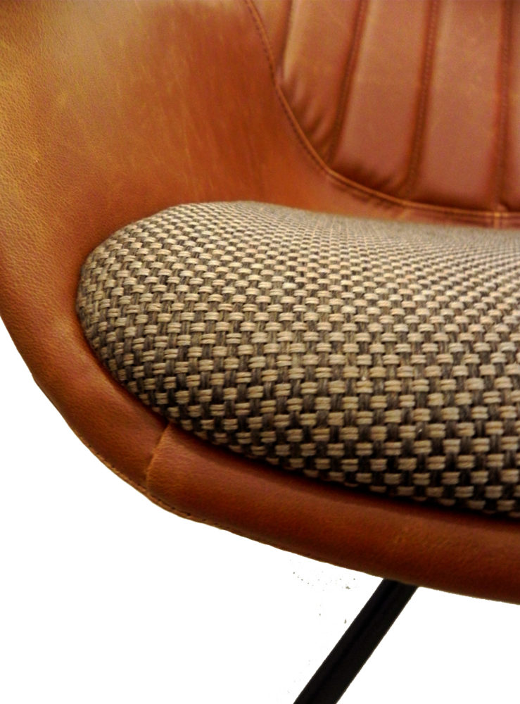 brown damier fabric chair seat