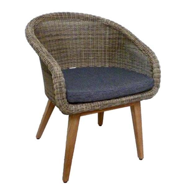 gray brown teak wicker armchair