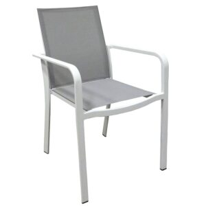 gray fabric outdoor aluminum armchair