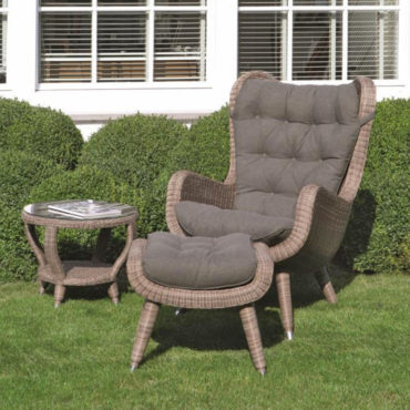 gray wicker outdoor lounge set