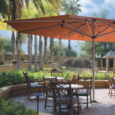 large orange pool outdoor restaurant umbrella