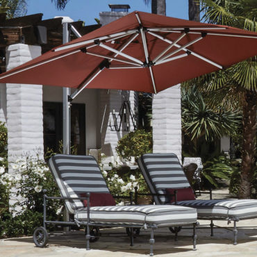 sirius red cantilever umbrella pool loungers