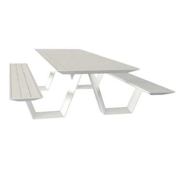 white aluminum picnic table