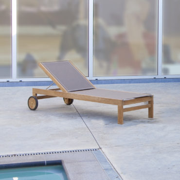 teak chaise lounger with wheels