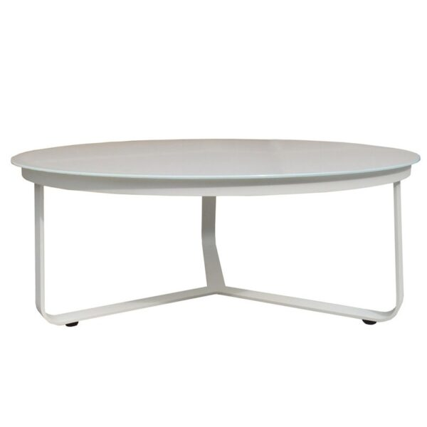 round aluminum coffee table