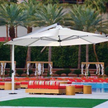 shademaker giant hotel umbrella white