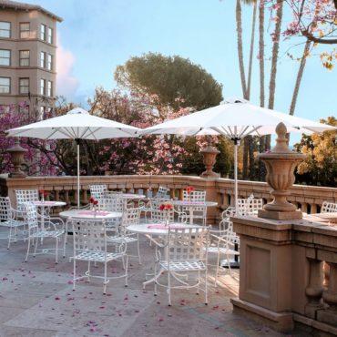 white bistro restaurant umbrella