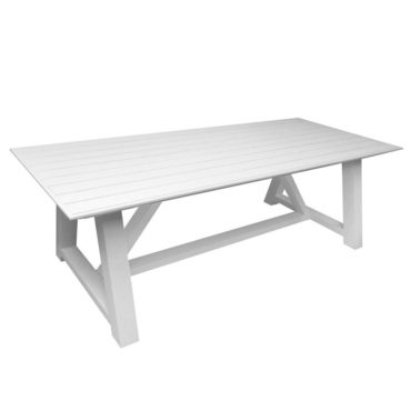 white aluminum outdoor table