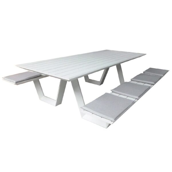 white aluminum picnic table cushioned