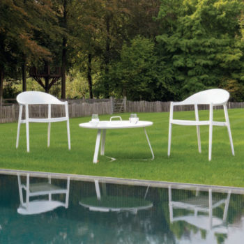 round white modern outdoor coffee table armchairs monia cannes