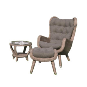 yvette wicker lounge set chair side table footstool