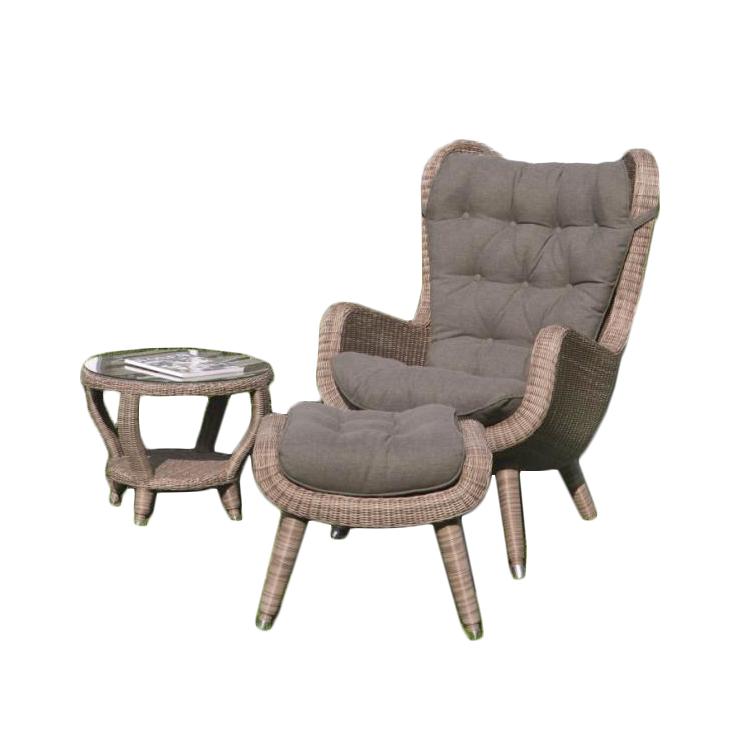 yvette wicker lounge set chair side table footstool
