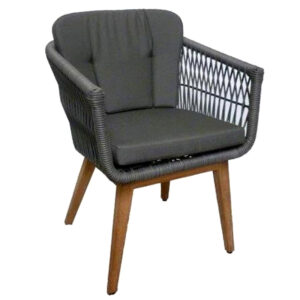 woven black cushion teak chair