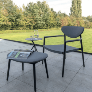 black aluminum outdoor lounge set side table footstool