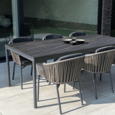 black cord dining chair marble outdoor table