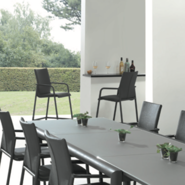 solaria black patio table chair