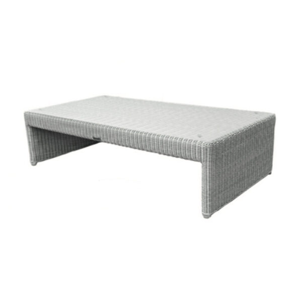 light gray wicker glass-top coffee table