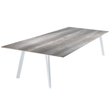 ceramic iron outdoor dining table gray white