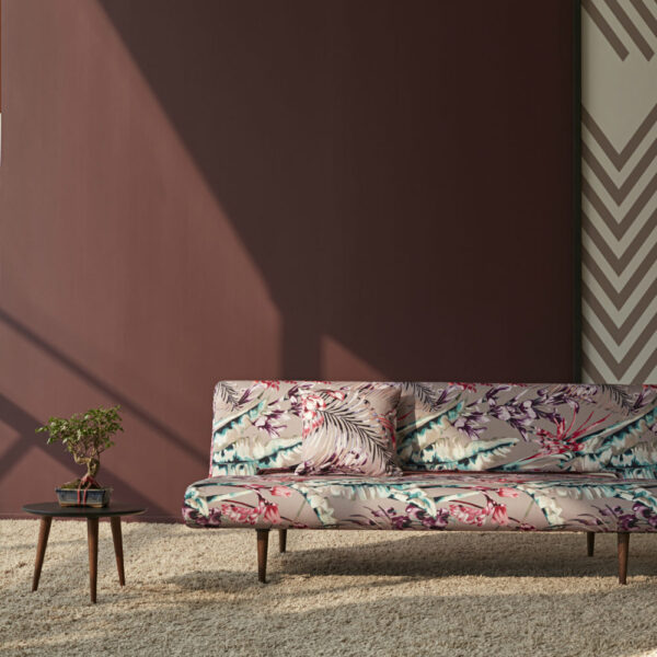 mauve floral compact sofa bed