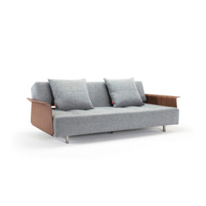 sofa lounge bed wooden armrests gray