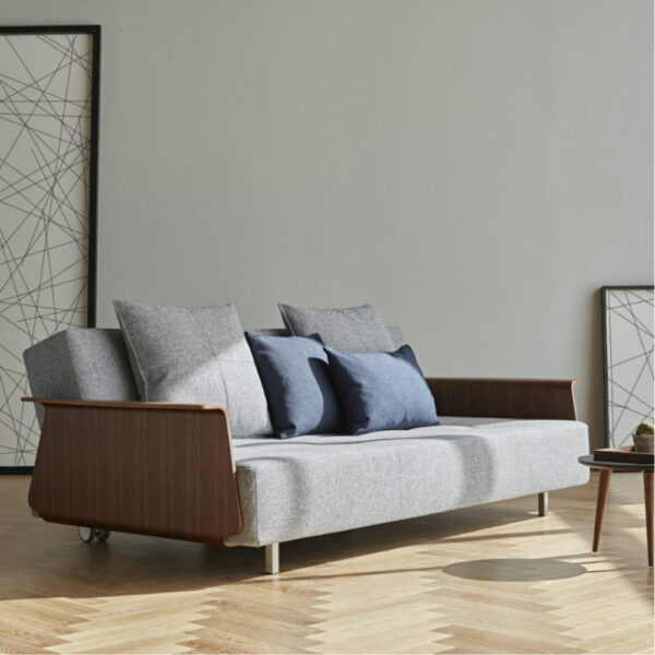 sofa lounge bed wooden armrests blue gray