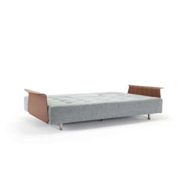 sofa lounge bed wooden armrests gray