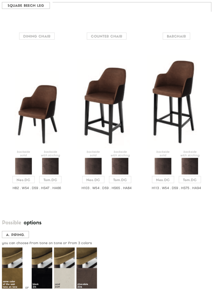 neo dining armchair stitched
