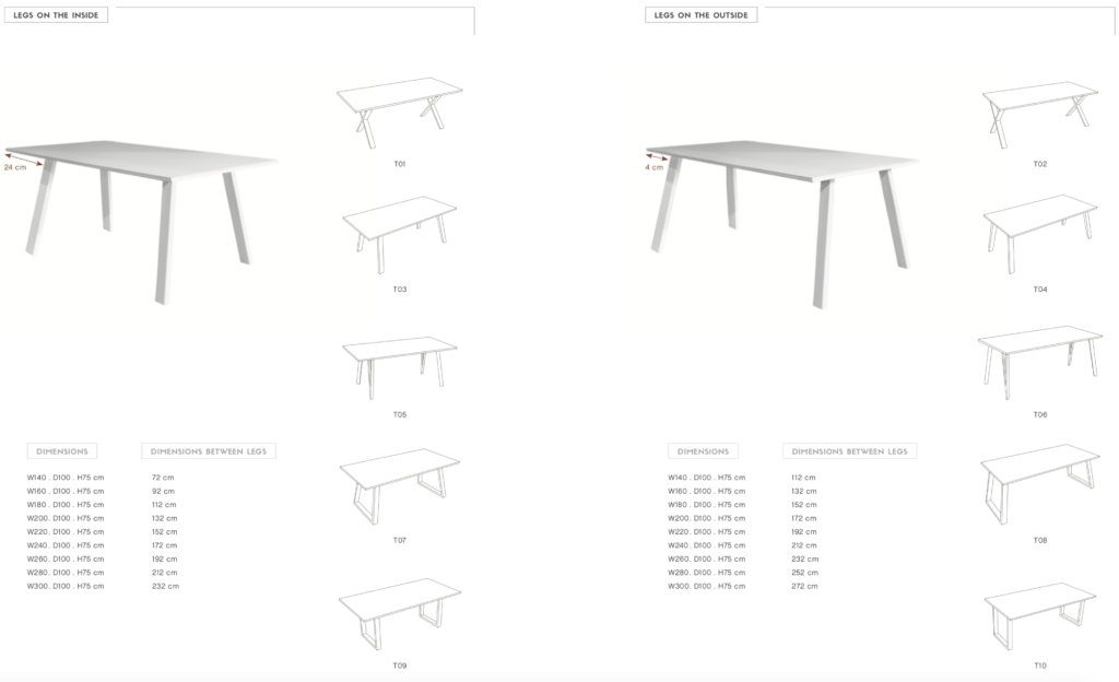 spisa dining table shapes
