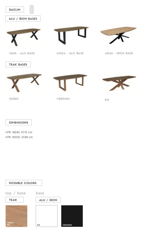 raclin teak outdoor dining table
