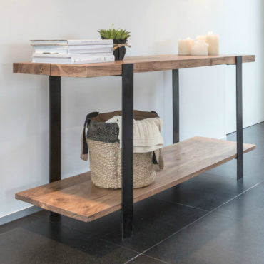 arco wood iron industrial console
