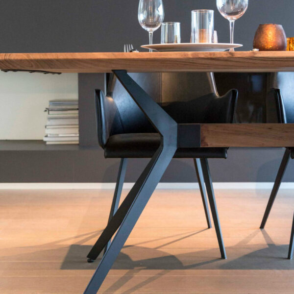 rita black leather dining chair