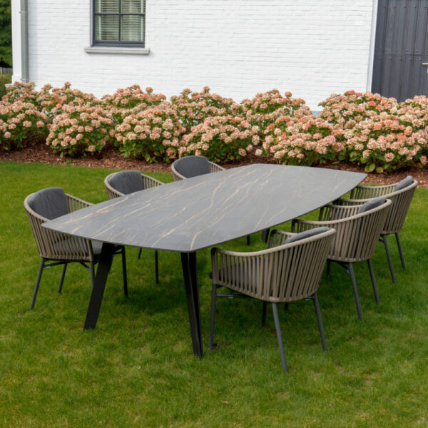 black marble outdoor dining table