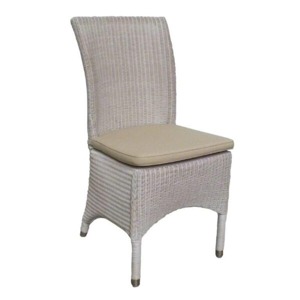 camille white wicker dining chair