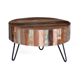 drum reclaimed wood coffee table